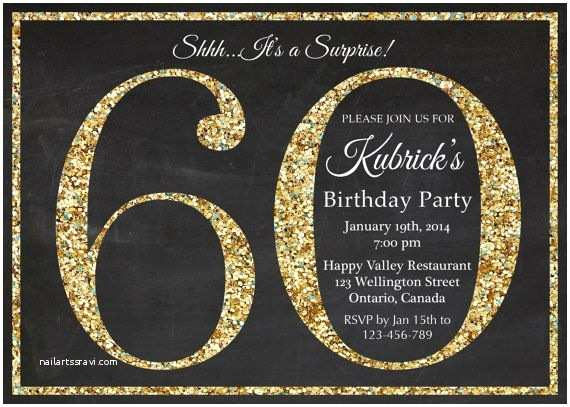 60th Birthday Invitation Ideas 60th Birthday Invitation Gold Glitter Birthday Party