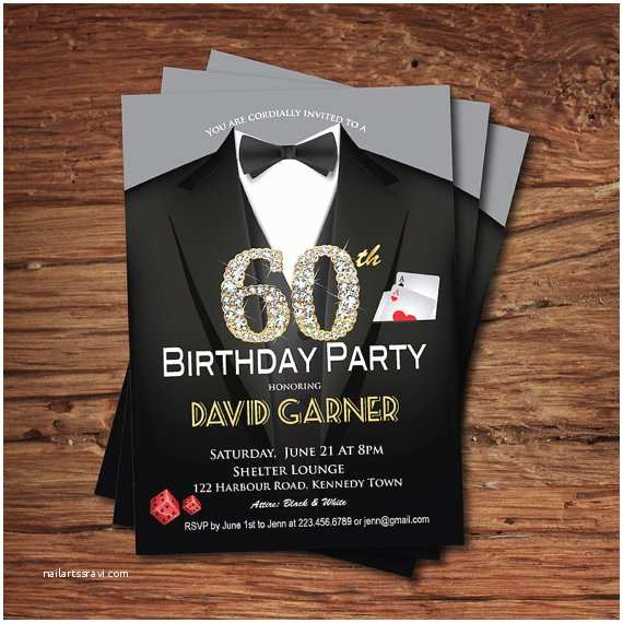 60th Birthday Invitation Ideas Casino 60th Birthday Invitation Adult Man Birthday Party