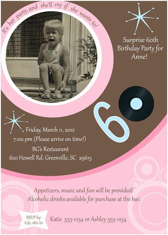 60th Birthday Invitation Ideas Items Similar to 60th Birthday Party Invitation On Etsy