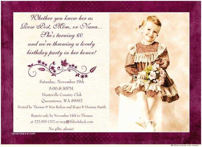 60th Birthday Invitation Ideas Purple Leaves