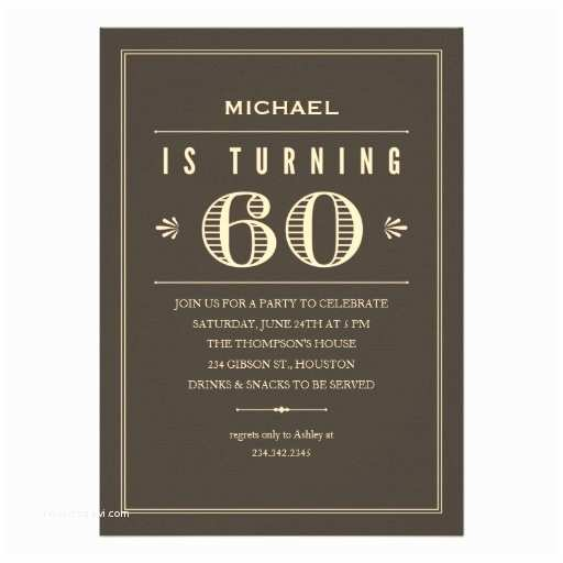 "60th Birthday Invitation Wording 60th Birthday Invitations for Men 5"" X 7"" Invitation Card"