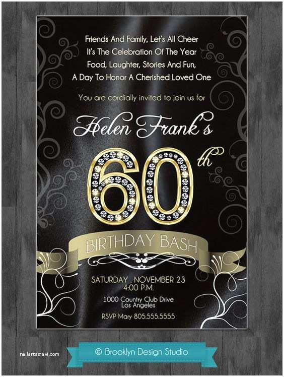 60th Birthday Invitation Wording 60th Birthday Party Elegant Invitation with Diamond