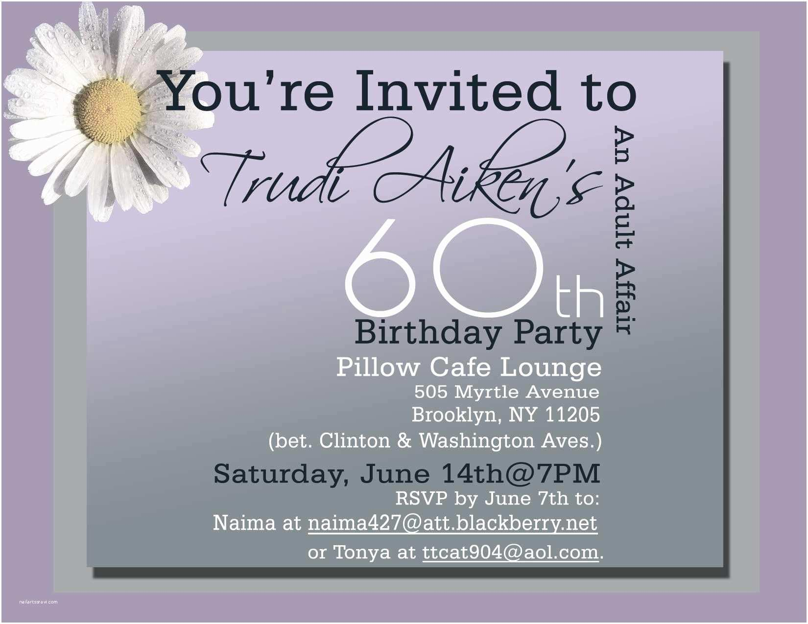 60th Birthday Invitation Wording Sample For