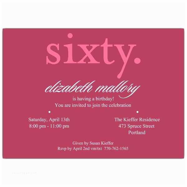 60th Birthday Invitation Wording Sixty Pink 60th Birthday Invitations