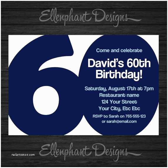 60th Birthday Invitations 60th Birthday Invitation 60 Adult Sixty Also Suit 30th