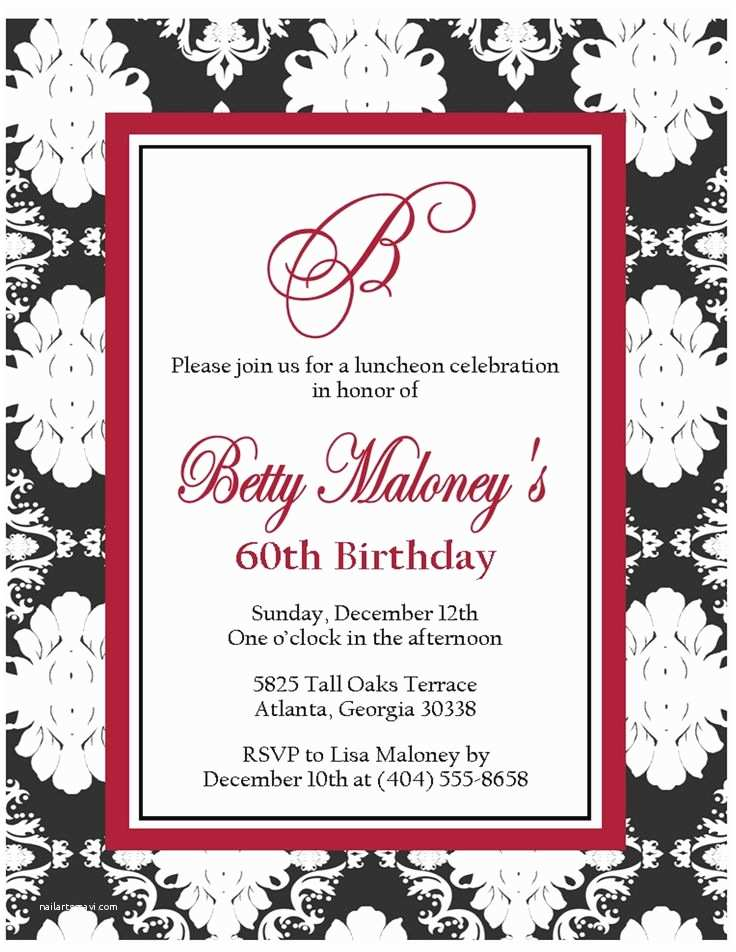 60th Birthday Invitations 60th Birthday Invitations for Her