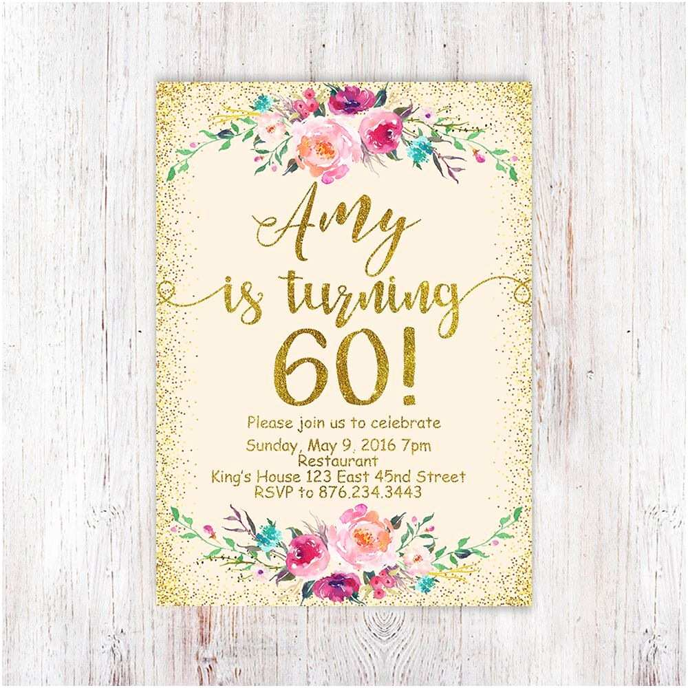 60th Birthday Invitations Birthday Floral 60th Birthday Invitation Peach and Gold