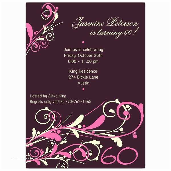 60th Birthday Invitations Camia Plum 60th Birthday Invitations