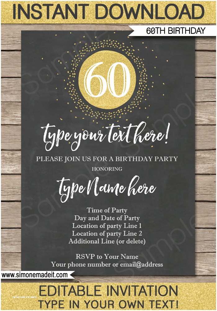 60th Birthday Invitations Chalkboard 60th Birthday Invitations Template