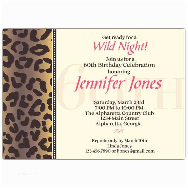 60th Birthday Invitations Cheetah 60th Birthday Invitations
