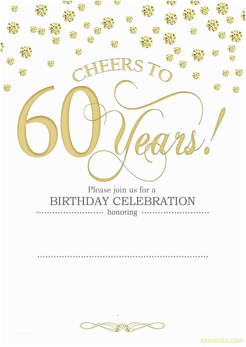 60th Birthday Invitations Cool Free Printable 60th Birthday Invitation Templates