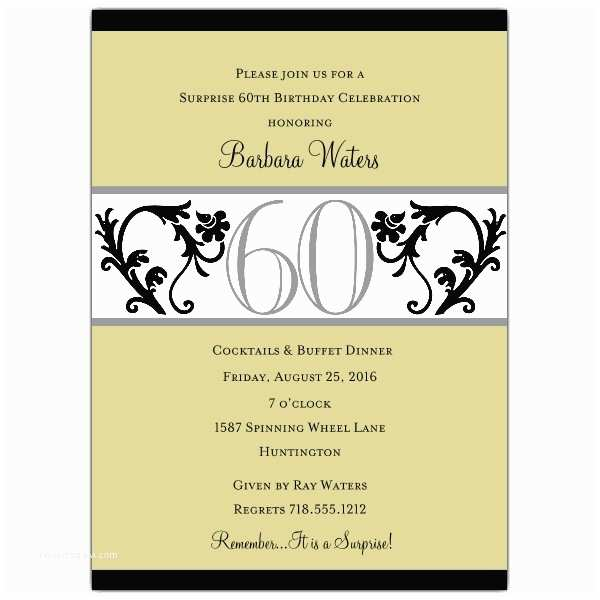 60th Birthday Invitations Elegant Vine Chartreuse 60th Birthday Invitations