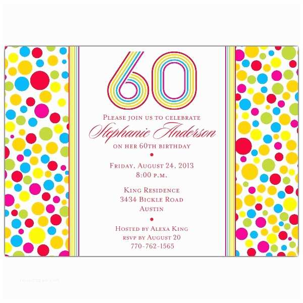 60th Birthday Party Invitations Colorful 60th Birthday Party Invitations