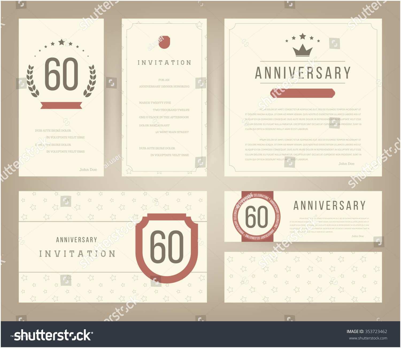 60th Wedding Anniversary Invitations Free Templates 60th Anniversary Invitation Cards Template Stock Vector