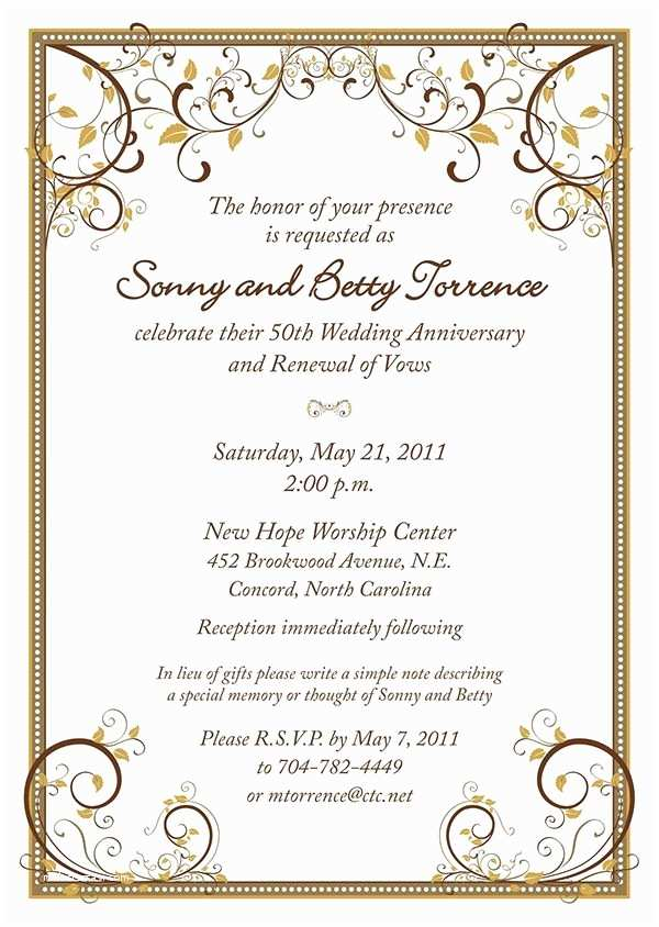 60th Wedding Anniversary Invitations Free Templates 60th Anniversary Invitation Free Template