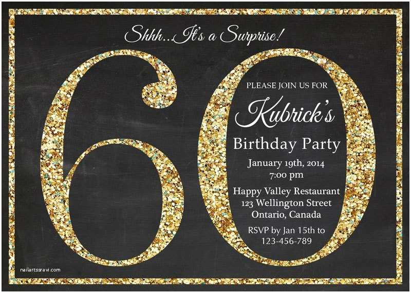 60th Wedding Anniversary Invitations Free Templates Birthday Invitation Gold Glitter Party Invite