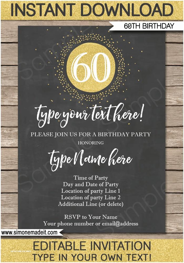 60th Wedding Anniversary Invitations Free Templates Chalkboard 60th Birthday Invitations Template