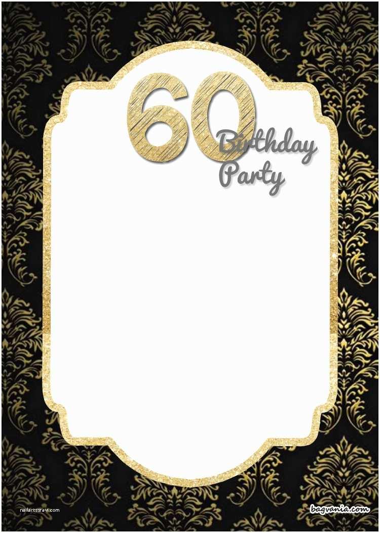 60th Wedding Anniversary Invitations Free Templates Free Printable Elegant 60th Birthday Invitation Template