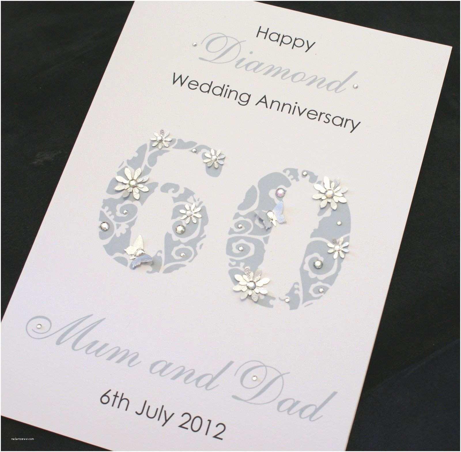 60th Wedding Anniversary Invitations Free Templates Large Handmade Personalised 60th Diamond Wedding