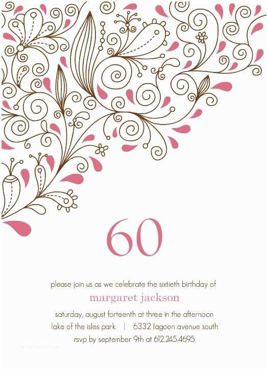 60th Wedding Anniversary Invitations Free Templates Pink Floral 60th Birthday Party Invitation — Anouk Invitations