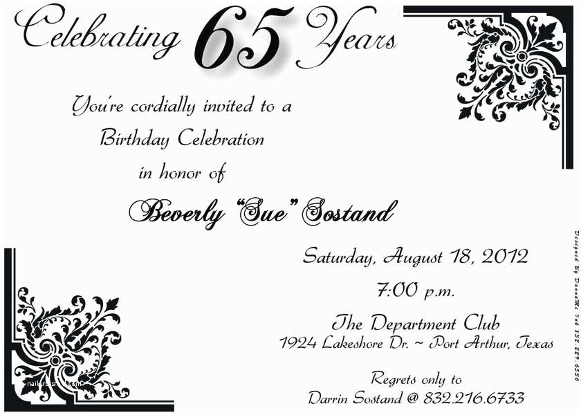 65th Birthday Invitations 65th Birthday Invitations A Birthday Cake