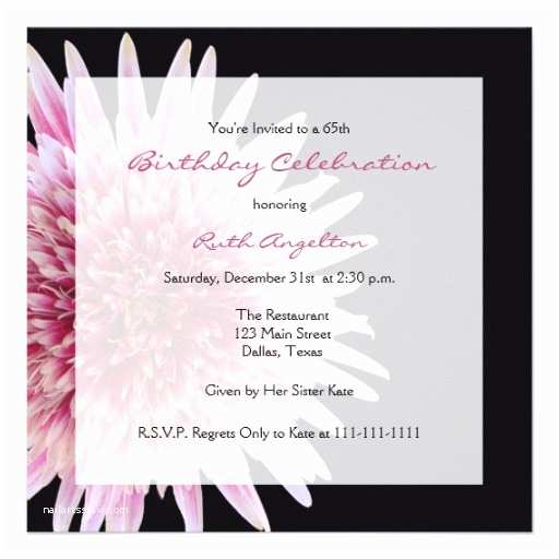 65th Birthday Invitations 65th Birthday Party Invitation Gerbera Daisy 5 25