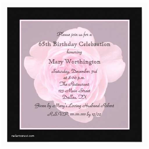 65th Birthday Invitations 65th Birthday Party Invitation Rose for 65th 5 25