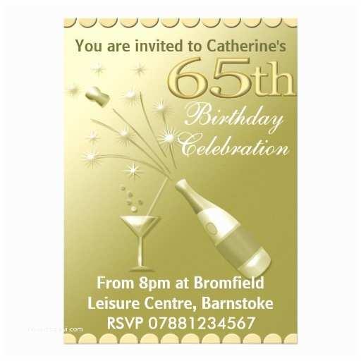 65th Birthday Invitations 65th Birthday Party Invitations Gold