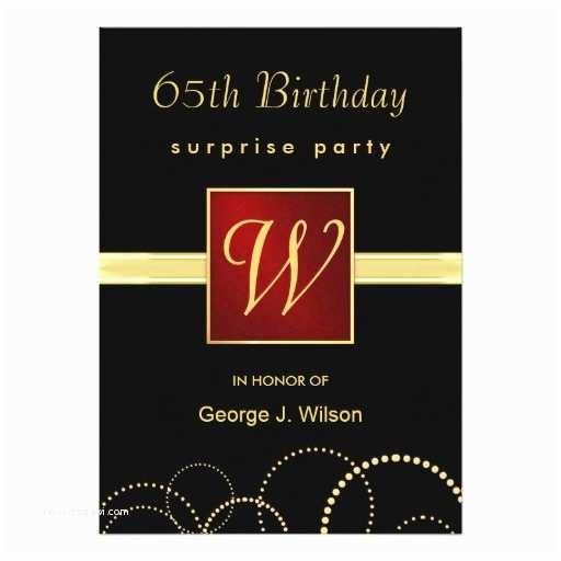 65th Birthday Invitations 65th Birthday Surprise Party Elegant Monogram 5x7 Paper