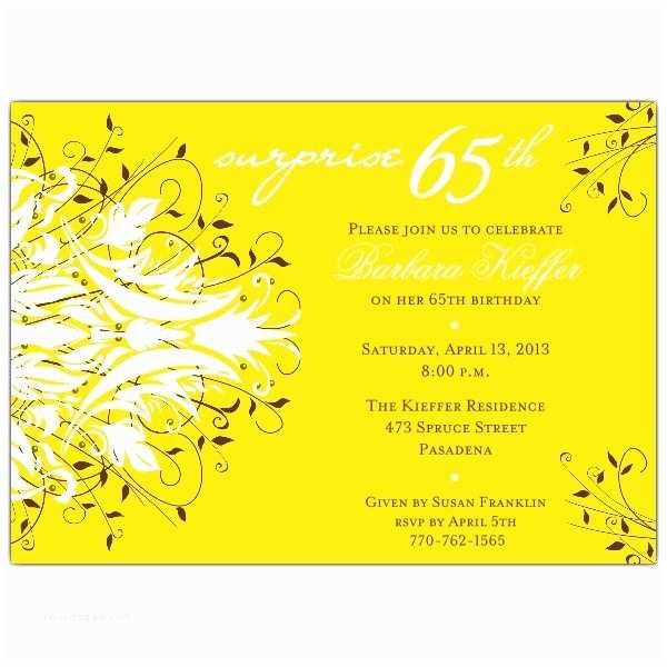 65th Birthday Invitations Andromeda Yellow Surprise