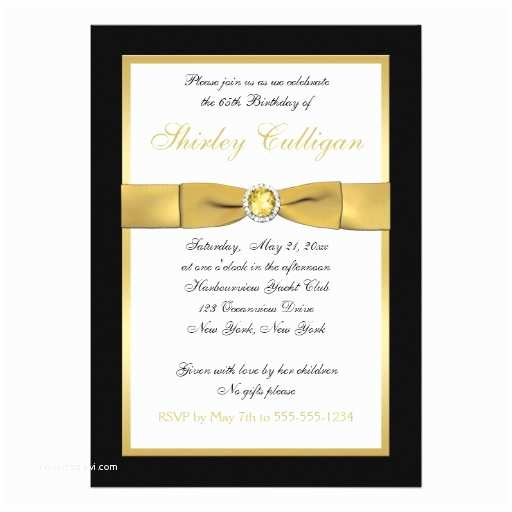 "65th Birthday Invitations Black and Gold 65th Birthday Invitation 5"" X 7"" Invitation"
