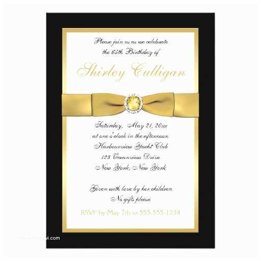 black and gold 65th birthday invitation card