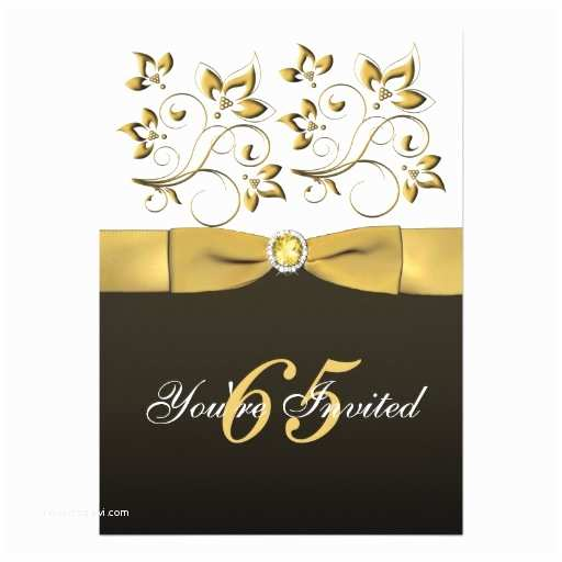 "65th Birthday Invitations Black White and Gold Floral 65th Birthday Invite 5"" X 7"
