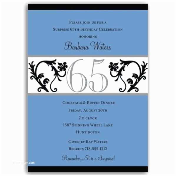 65th Birthday Invitations Elegant Vine Blue 65th Birthday Milestone Invitations