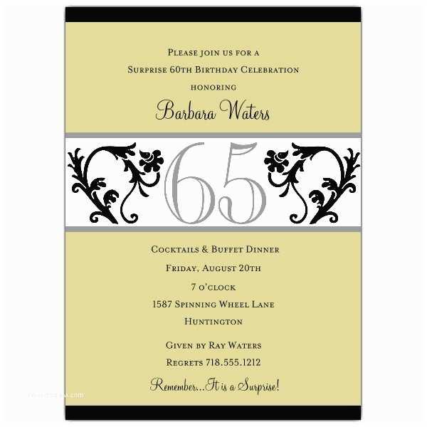 65th Birthday Invitations Elegant Vine Chartreuse 65th Birthday Invitations