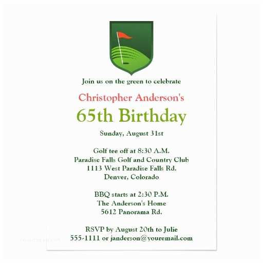 """65th Birthday Invitations Golfer Golf Golfing 65th Birthday Invitation 5"""" X 7"""