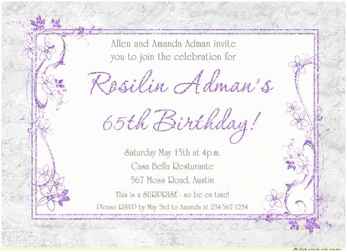 65th Birthday Invitations Lavender Birthday 65th Party Invitation soft Gray Custom