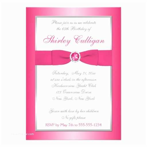 65th Birthday Invitations Pink Silver and White 65th Birthday Invitation 13 Cm X