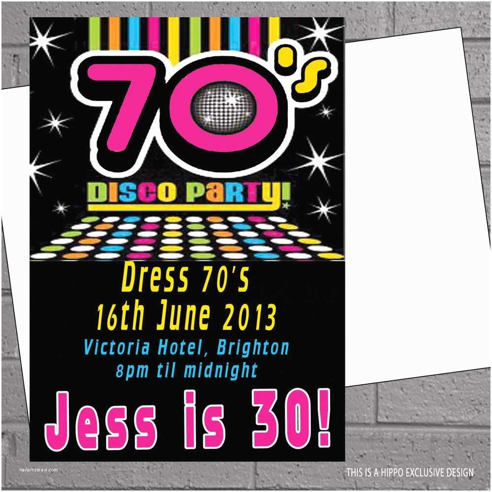 70s Party Invitations 1970s 70s Seventies Disco Birthday Party Invitations X 12
