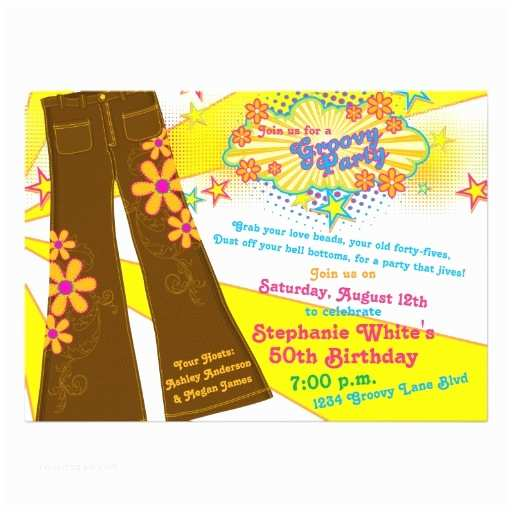 """70s Party Invitations 70s theme Groovy Bell Bottoms 50th Birthday Party 5"""" X 7"""