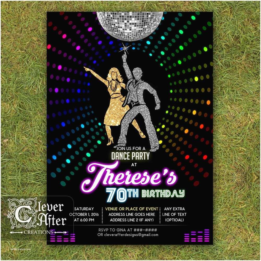 disco invitation 70s disco dance night