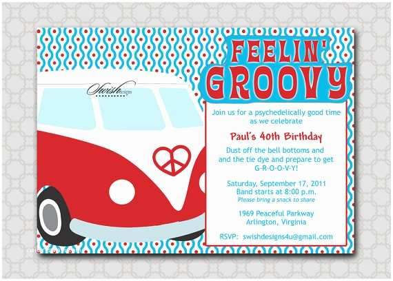 70s Party Invitations Groovy Hippy themed Vw Bus Bug 60s 70s Inspired Birthday