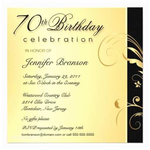 70th Birthday Invitations 70th Birthday Party Elegant Gold Floral Invites 5 25