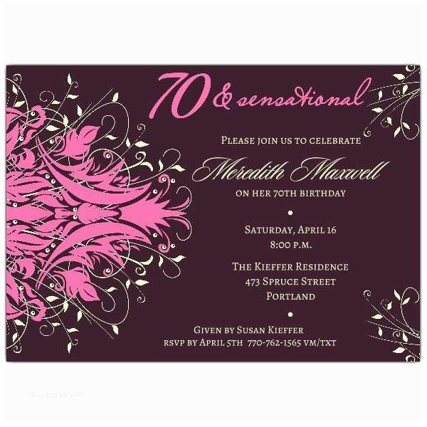 70th Birthday Invitations andromeda Pink 70th Birthday Invitations