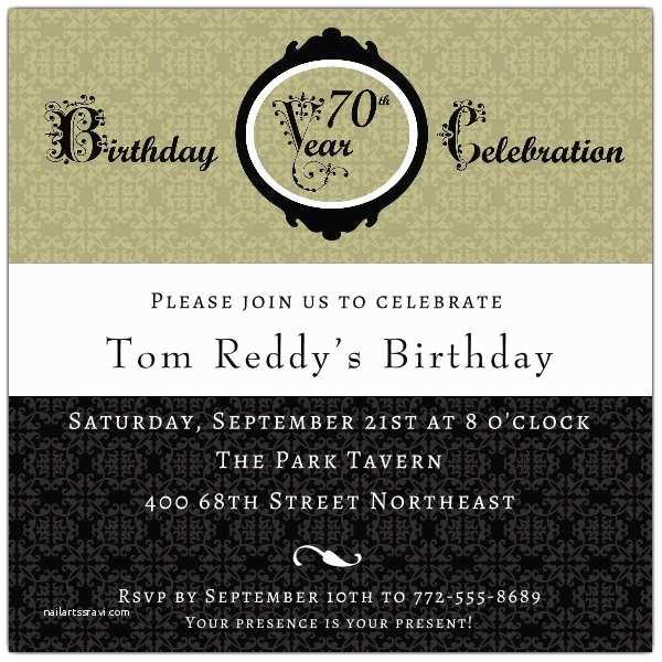 Damask 70th Birthday Invitations p 606 55
