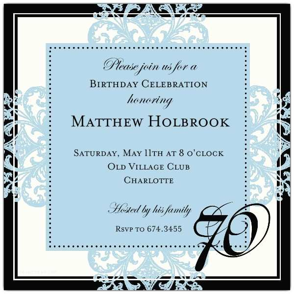 70th Birthday Invitations Decorative Square Border Blue 70th Birthday Invitations