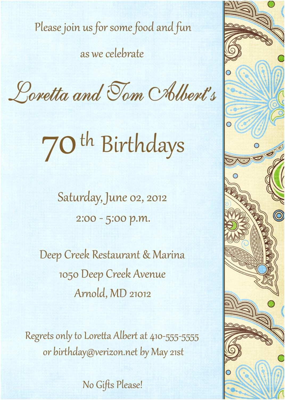 70th Birthday Party Invitations 5x7 70th Birthday Invitation May Be Altered by