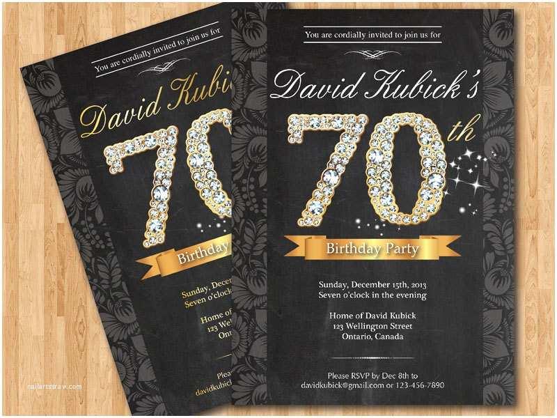 70th Birthday Party Invitations 70th Birthday Invitation Black and Gold Diamond Number
