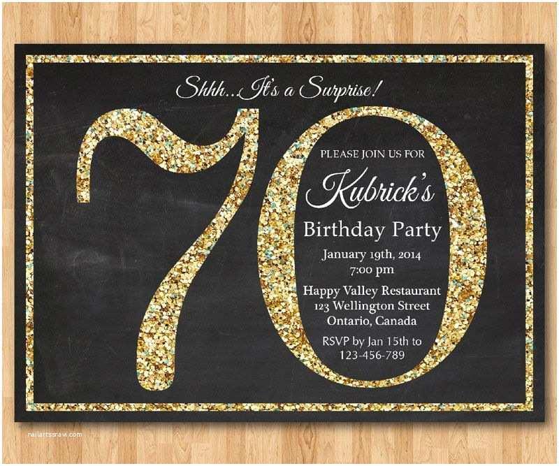 70th Birthday Party Invitations Invitation Gold Glitter