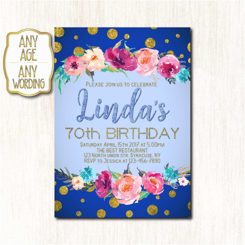 70th Birthday Party Invitations 70th Birthday Invitations Spring Birthday Invitation Woman
